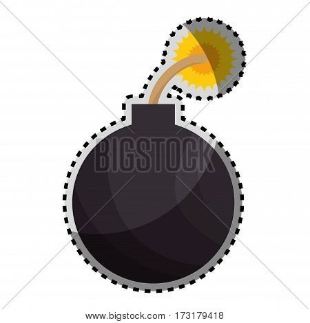sticker color silhouette with bomb icon vector illustration