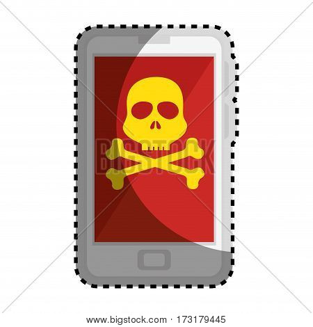 sticker color silhouette with cell phone with virus skull and bones vector illustration
