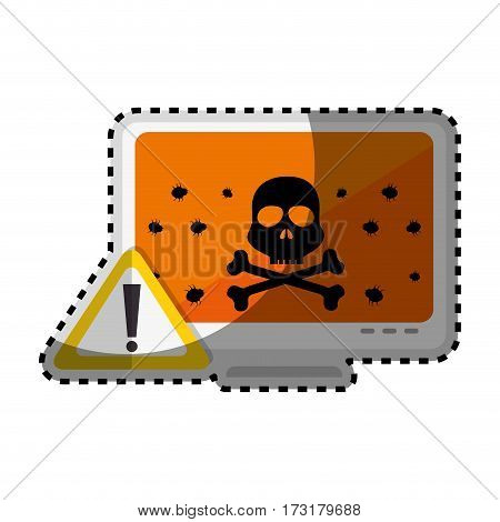 sticker color silhouette of lcd monitor with virus on screen vector illustration