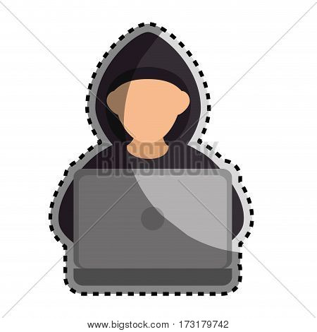 sticker color silhouette with hacker faceless and laptop vector illustration