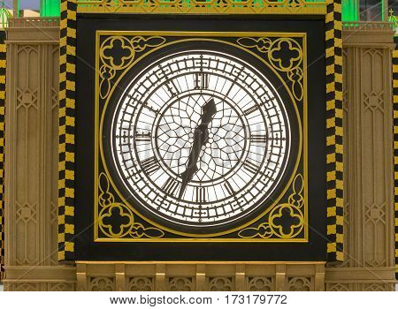 vintage clock with classic golden frame at outdoor