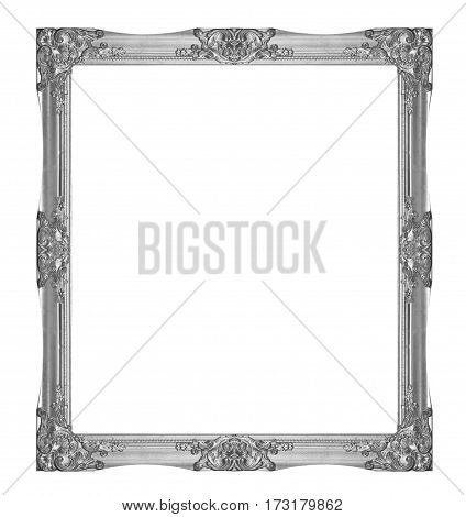 Old Wooden Frame Silver Isolated