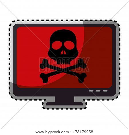 sticker color silhouette of lcd monitor with virus skull and bones on screen vector illustration