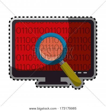 sticker color silhouette of lcd monitor and virus scanning vector illustration