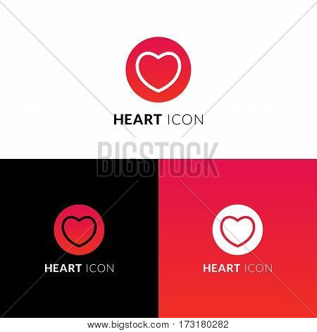 Heart vector icon, logo. Stock vector decorative love symbol in circle. Like line sign with trend red-pink gradient color on white and black background. Emblem for template design.