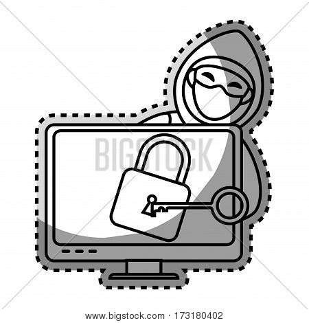 monochrome contour sticker with hacker and lcd monitor with padlock vector illustration