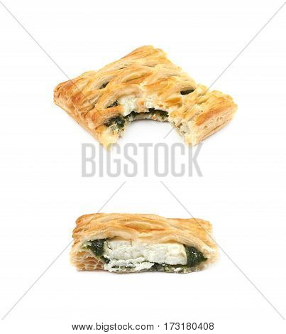 Spinach and cheese bun pastry with a bite taken off it, composition isolated over the white background, set of two different foreshortenings