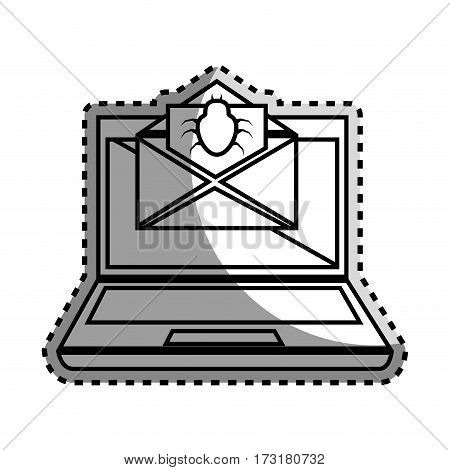 monochrome contour sticker with laptop computer and virus mail vector illustration