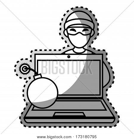 monochrome contour sticker with hacker and laptop and bomb vector illustration
