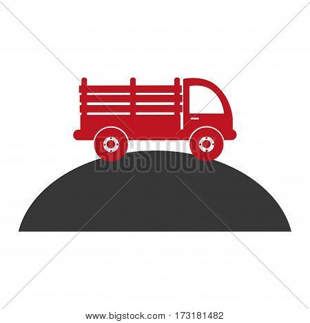 monochrome silhouette with stakes truck over the mountain vector illustration