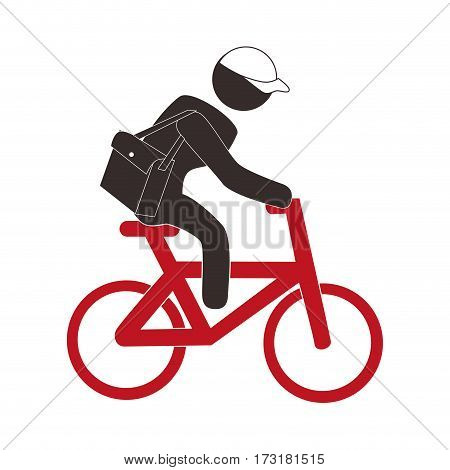 color pictogram with messenger man in bike vector illustration