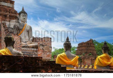 Old Temple Architecture Wat Yai Chai Mongkol at Ayutthaya Thailand World Heritage Site