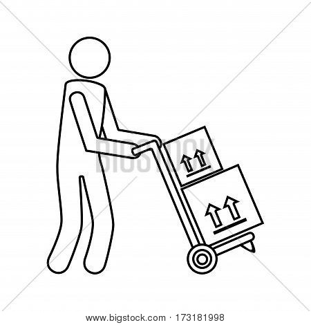 monochrome contour with messenger and hand truck with boxes vector illustration