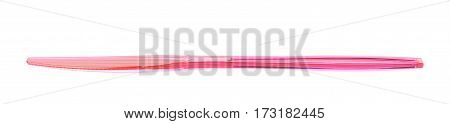 Single disposable plastic knife isolated over the white background