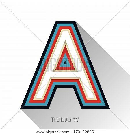 Letter A with drop shadow on white background. A vector colorful logo, sign or icon design template elements for covers, placards, posters, fliers,emblem and banner designs.