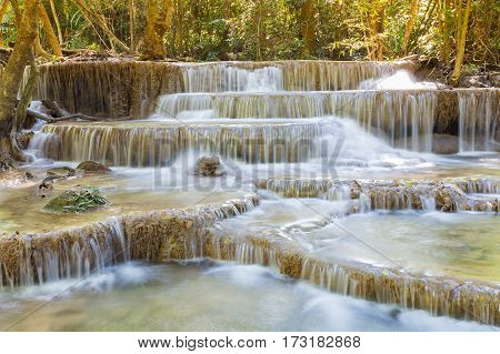 Natural multiple layers waterfall in deep forest national park of Thailand