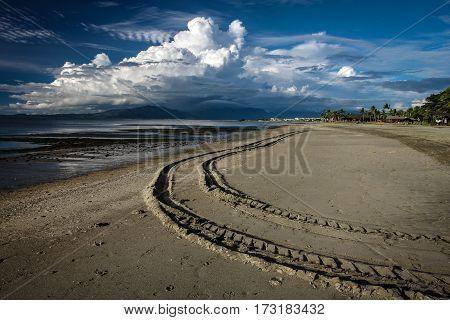 Sandy beach with a vehicular track on a fair day.