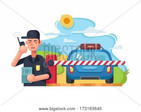 Traffic police checkpoint. Patrol car on roadblock. Vector flat illustration