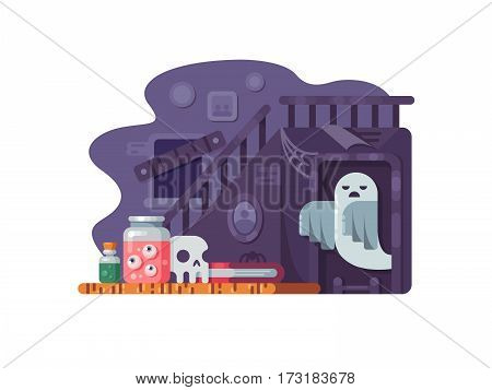 Haunted house. Old abandoned home with scary ghost. Vector illustration