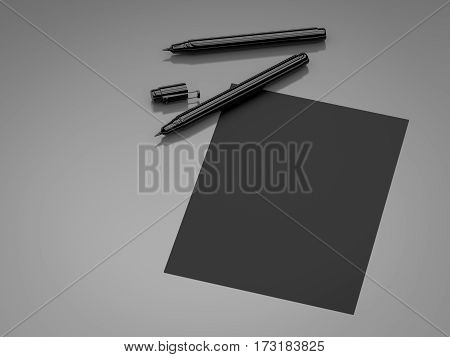 Black Blank Paper With Black Pens