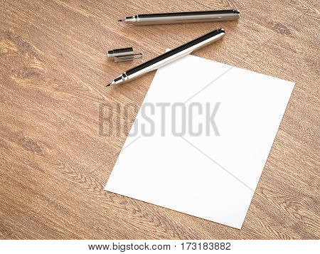 White Blank Paper With Pens