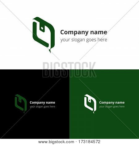 Logo purse-chat. Logotype with wallet and chat vector template design. Green color sign, symbol, icon. Concept logo for business, chatting, community, bank company.