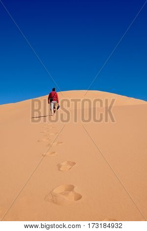 Man walking on sand dunes to the sky. Coral Pink Sand Dunes State Park. Cedar City. Kanab. Utah. United States.