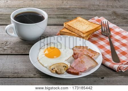 Delicious Breakfast With Eggs And Bacon