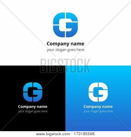 Letter G logo icon flat and vector design template. Monogram G. Logotype G with blue gradient color. Creative vision concept logo, elements, sign, symbol for card, brand, banners.
