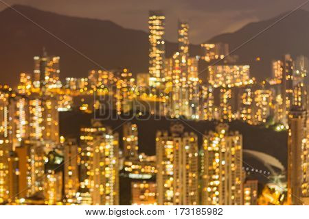 Blur light Hong Kong residence area over high hill abstract background