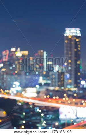 Twilight city blurred light night view abstract background