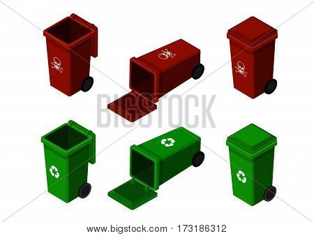 wheelie bin vector isolation green bin and red bin