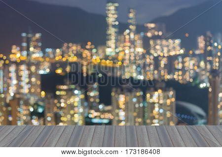 Opening wooden floor blur light Hong Kong residence building area abstract background