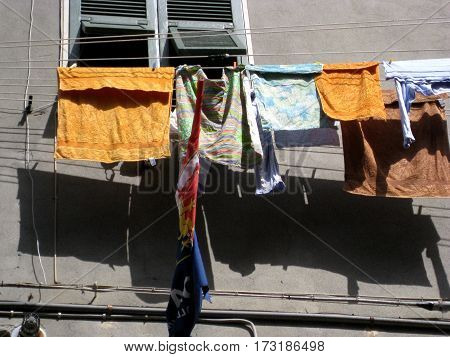 Typical scene in Italy with laundry drying on a line