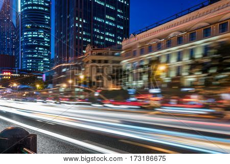 urban traffic with cityscape in Shanghai,China .