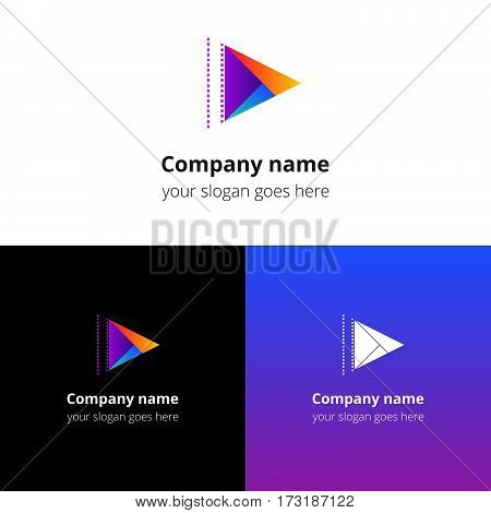 Play music sound button and video movie film strips flat logo icon vector template. Abstract symbol and button with colorful gradient for music, cinema, television, industrial service or company.