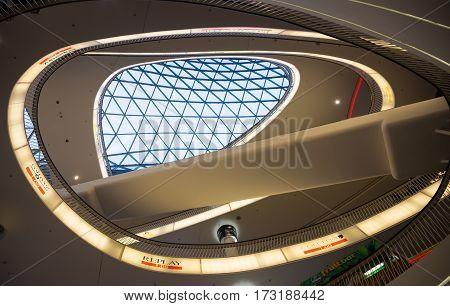 FRAKFURT ON MAIN, GERMANY - NOVEMBER 01, 2016: The interior of MyZeil shopping center in Frankfurt. It's been designed by Massimiliano Fuksas