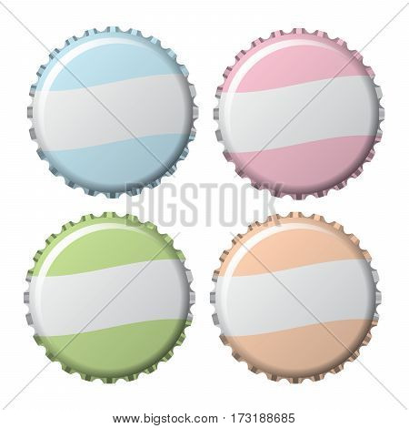 bottle caps in kid colors isolated on white background vector illustration