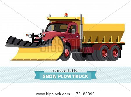 Classic Snow Plow Heave Duty Truck Front Side View