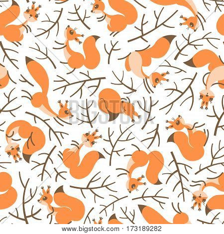 A Scurry of Squirrels on the branches. Seamless autumn pattern for gift wrapping, wallpaper, childrens room or clothing. Vector illustration