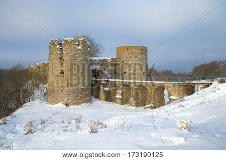 The Koporye fortress is cloudy February day. Leningrad region, Russia