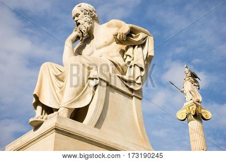 Marble Statue Of The Ancient Greek Philosopher Socrates.