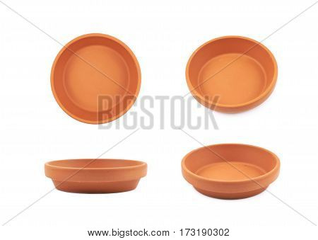 Ceramic tray plate isolated over the white background
