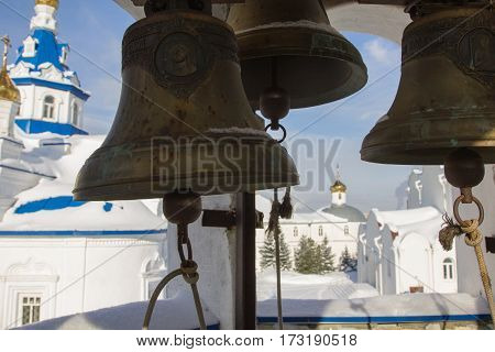 Kazan, Russia, 9 february 2017, bell tower inside in Zilant monastery, close up