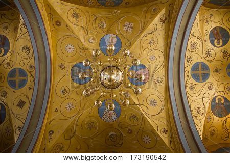Kazan, Russia, 9 february 2017, Zilant monastery - Inside Christian Church - golden ceiling horizontal