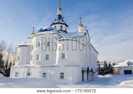 Kazan, Russia, 9 february 2017, Zilant monastery - white christian church at winter frozen sunny day, religion concept wide angle