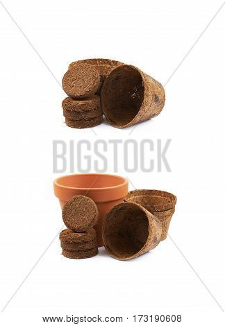 Degradable coconut pot next to a pile of compressed compost tablets, composition isolated over the white background, set of two different foreshortenings