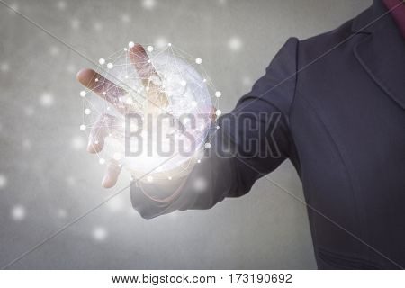Businessman diagram statistic Media planet earth connection concept and hand support world map Using modern technologies for business ./ Show through hand for support technology