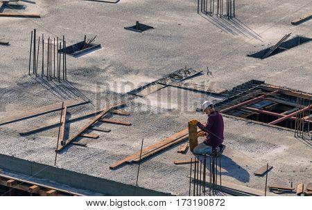 Istanbul, Turkey - November 12, 2016: Construction Worker In A Helmet