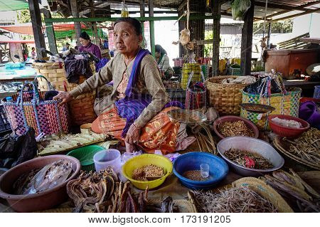 Vendor At The Local Market In Inle Lake, Myanmar